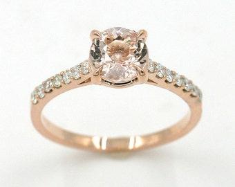 Morganite Ring.Engagement Ring.Rose Gold Wedding Ring.Diamond Ring.7mm Natural Morganite. Morganite Engagement Ring.Genuine Diamond Ring.