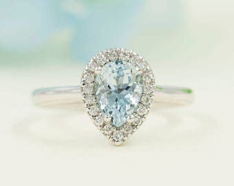 Aquamarine Engagement Ring, 0.16ct High Quality Diamonds, Aquamarine Diamond Engagement, 8x6 AAA Pear Shaped Aquamarine.Diamond Halo Ring