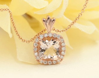 Morganite Diamond Necklace.0.16 ct High Quality Diamond & 7mm AAA Natural Morganite.Cushion Pendant.14k Rose Gold Necklace.Simple Necklace