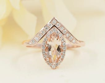 Simple Marquise Morganite Engagement Ring.Diamond Engagement Ring.14K Solid Gold Engagement Ring.14K Rose Gold Wedding Ring.0.28ct Diamonds