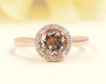 Simple Round Morganite Engagement Ring/Diamond Halo Rose Gold Engagement Ring/Diamond Engagement Ring/14k Rose Gold Wedding Ring