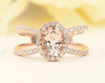 Morganite Engagement Ring, 0.42ct High Quality Diamonds, Morganite Diamond Engagement, 8x6 AAA Oval Morganite, F G-VS Quality Diamond Ring
