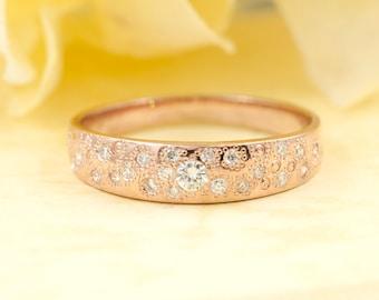 14K Rose Gold Ring.Stardust Diamond Wedding Band. High Quality Diamonds.Stardust Band.Minimalist Ring.Wide Diamond Band.Diamond Ring.