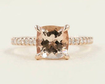 Cushion Morganite Diamond Engagement Ring.7mm AAA Quality Morganite & 0.26ct High Quality Diamond Ring. Rose Gold Morganite Engagement Ring