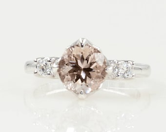 Morganite Engagement Ring.7mm Natural Round  Morganite Ring.14K Rose Solid Gold & High Quaility Diamonds.Wedding Diamond  Ring.Wedding Ring