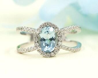Aquamarine Engagement Ring, 0.42 ct High Quality Diamond Ring.Aquamarine Diamond Engagement.8x6 AAA Oval Shaped Aquamarine.Engagement Ring.