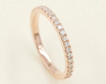 2mm Half Eternity Diamond Wedding Band.14K Solid White,Yellow,Rose gold Diamond Band.Diamond Half Eternity Ring.Simple Diamond Ring.Dainty