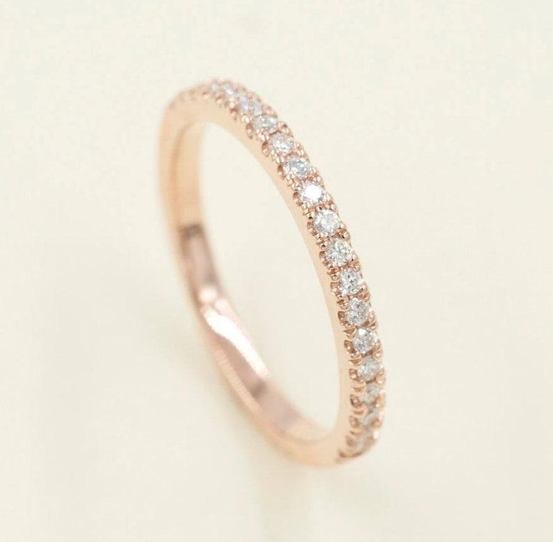 9f42af516 2mm Band.Half Eternity Diamond Wedding Band.14K Solid | Etsy