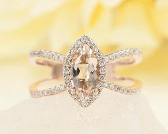 Marquise Morganite Engagement Ring.Diamond Engagement Ring.14K  Gold Two Row Diamond Ring.Rose Gold Engagement Ring.White Gold Wedding Band