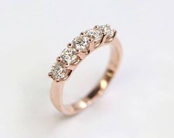 0.75Ct Diamond Wedding Band.14k Rose Gold Diamond Ring.5 Natural Diamond Band.14k White Gold Ring.Diamond Matching Band.Vintage Wedding Ring
