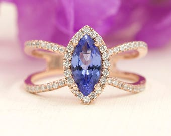 Tanzanite Engagement Ring.Diamond Engagement Ring.AAA Quality Marquise Tanzanite Wedding Ring.Diamond Halo Engagement Double Band Ring.