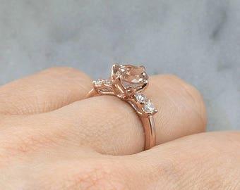 8x6 Oval Morganite Engagement Ring.14K Rose Gold Engagement Ring.Morganite Wedding Ring.Diamond Cluster Ring.Diamond Bridal Ring.