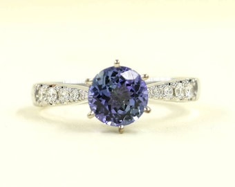 7mm Natural Tanzanite Diamond Ring/Tanzanite Diamond Engagement Ring/10 High Quality Diamond Ring/Solid 14K White,Yellow or Rose Gold