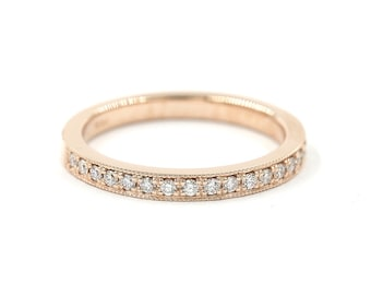 1.8mm Pave Set Half Eternity Wedding Band with Milligrain. 0.20ct. Stackable Diamond Ring.Diamond Matching Band.14k Solid Gold Wedding Ring