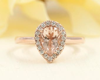 Pear Shaped Morganite Engagement Ring/0.16ct High Quality Diamond Morganite Engagement Ring/8x6 AAA Morganite High Quality Diamond Ring