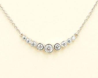 Diamond Necklace.Diamond Pendant.9 Bezel Necklace.14k Rose Gold Necklace  White Gold Necklace .0.35 Ct HighQuality Diamond.Dainty Necklace.