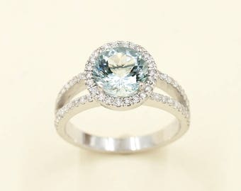 Diamond Engagement Ring.8mm Natural Aquamarine Engagement Ring,0.41ct High Quality Diamonds,14k Solid White Gold Diamond  Wedding Ring