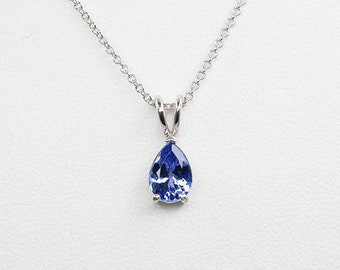 Tanzanite Necklace.14k White Gold Necklace.AAA 8x6 mm Natural Tanzanite.Solitaire Necklace.14k Dainty Necklace.Simple Tanzanite Necklace.