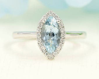 Aquamarine Engagement Ring, 0.17 ct High Quality Diamonds, Aquamarine Diamond Engagement, 10x5 AAA  Marquise Aquamarine Engagement Ring