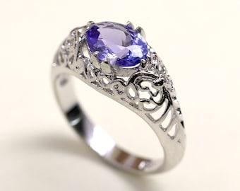 Tanzanite Engagement Ring.Vintage Style Tanzanite Ring.14k Rose Gold Wedding Ring.14k White Gold Ring.Vintage Engagement Ring.Vintage Ring.