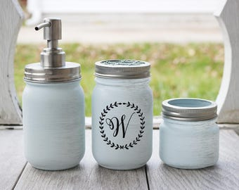 Mason Jar Soap Dispenser - Mason Jar Bathroom Set - Monogram Bathroom Set