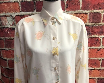 made in HONG KONG sz 12 late 70/'s early 80s dusty mauve blouse by CHAUS