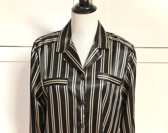 65d90516 Vintage Christie and Jill Black and Go,d Striped Blouse