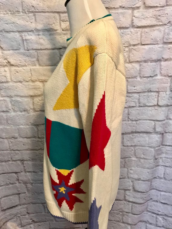 Vintage Heirloom Collections Oversized Cotton Knit Colorful Geometric Print Sweater