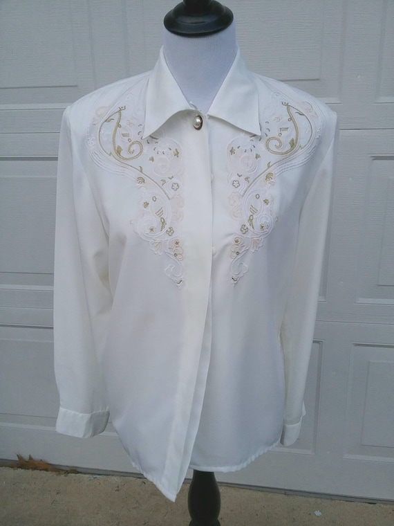 6b4851c5 Vintage Long Sleeve Embroidered Blouse Embroidered Shirt | Etsy