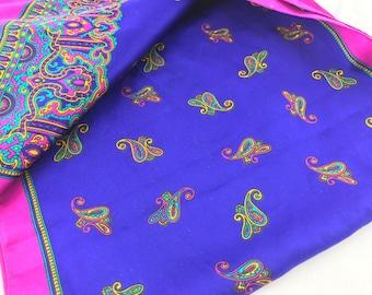 Vintage Long Scarf, Brightly Colored Scarf, Blue Scarf, Boho Scarf, Bohemian Scarf, Hippie Scarf, Scarf Sash, Head Scarf Hair Wrap