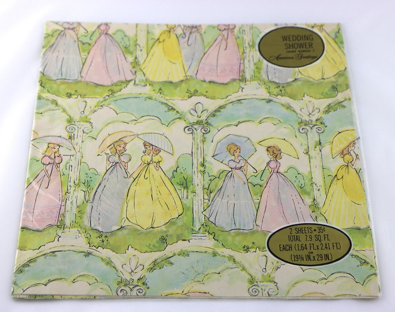 311a1406fb6 Vintage Bridal Shower Wrapping Paper Wedding Shower Wrapping
