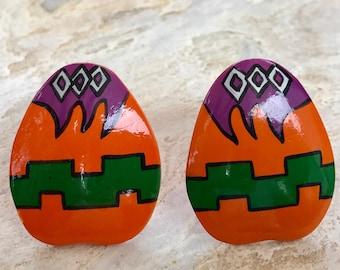 Vintage Large Orange Earrings, Tribal Style, Colorful Earrings, Statement Earrings, Boho Earrings, Hippie Earrings, Folk Fashion