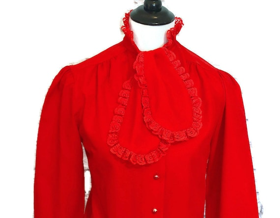 Vintage Red Ruffled Blouse, Ruffle Blouse, Red Blo