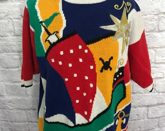 Vintage Oversized Sweater, Crew Neck Sweater, Colorful Sweater, Short Sleeve Sweater, Color Block Sweater, Hipster Sweater, Ugly Sweater