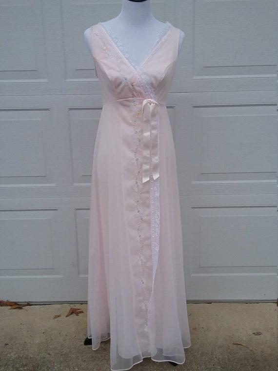 Vintage Pink Negligee, Boudoir Lingerie, Honeymoon