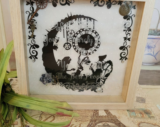 """Mad Hatter Etched """" Bonkers"""" Quote 9x9"""