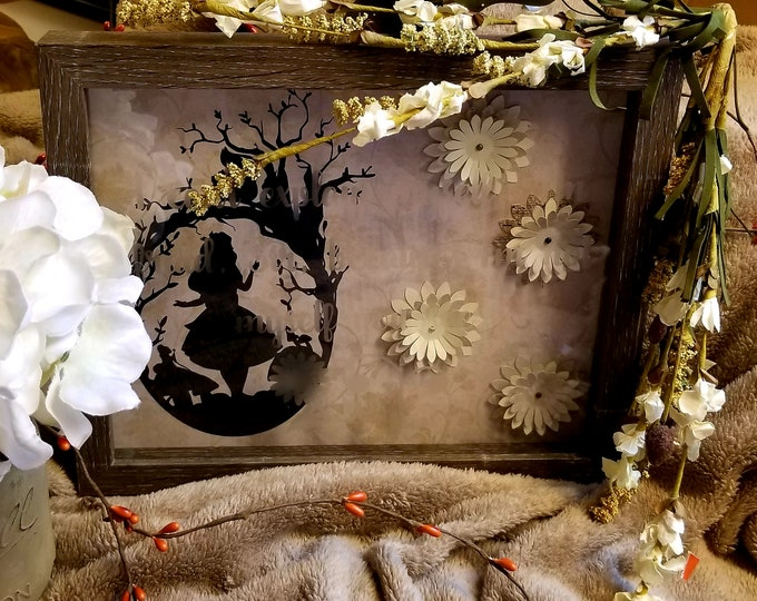 """Alice in Wonderland Silhouette w/ Etched Quote """"I'm not myself"""" 8x10 shadowbox"""