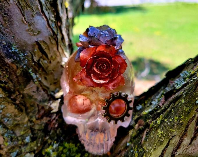 NEW!! Skull & Roses Resin Decor