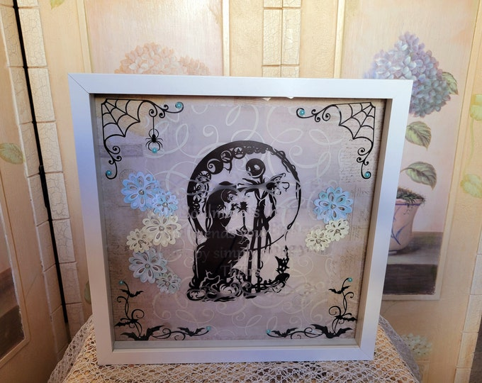"""Jack & Sally NBC Etched Glass Quote """"Soulmate"""" 12x12 Shadowbox"""