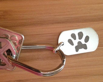Paw Print Key Ring   Custom Paw Print Silver Key Fob   Cat Dog Pet Lover Gift   Personalized Pet Gift
