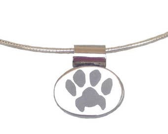 Paw Print Slide Necklace  Your Unique Custom Paw Print   Best Cat Dog Pet Lover Gift Silver Personalized Paw Print Jewelry Mother's Day Gift