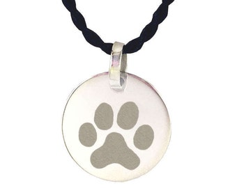 Paw Print Heart Necklace  Reversible  Cat Dog Pet Lover Gift  Paw Print Heart Memorial Necklace  Paw Print Jewelry  Dog Cat Paw Print Heart