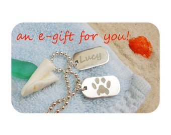 E Gift Card - 2 Silver Custom Personalized Paw Prints on Silver Necklace  Best Cat Dog Pet Lover Gift  Paw Print Personalized Silver Jewelry