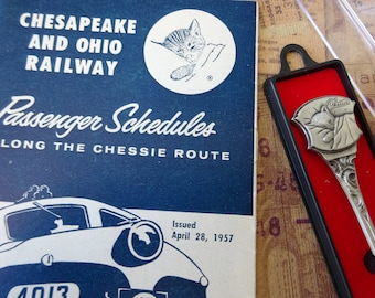 Vintage Lot of 2 1957 Chesapeake Schedule and Souvenir Collector Spoon