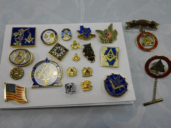 Vintage Lot of 21 ea  Mason Masonic Enamel Pin Lot Badge Lapel Button