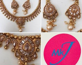 Polki Necklace and Earrings Set