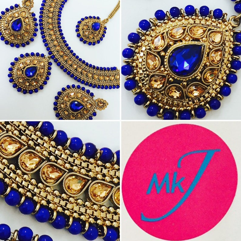 Necklace Earrings and Tikka Set Royal blue  image 0