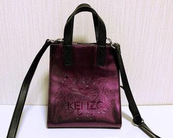70622b95921 Kenzo Tiger and logo Metallic purple 2way Handbag shoulder bag