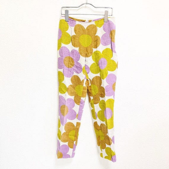 CELINE Floral linen tapered pants