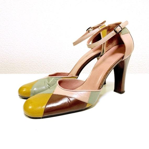 MARNI Nuance Color Patchwork Design Leather Strap